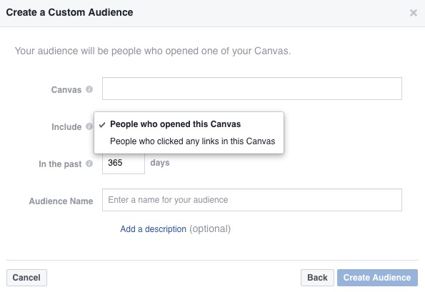 Facebook ads engagement on facebook canvas